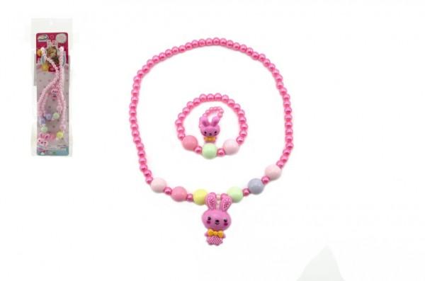 Náhrdelník, náramek a prstýnek korálky perleťové plast 20cm 2 barvy v sáčku