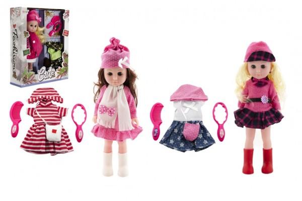 Panenka kloubová mrkací 33cm plast s oblečením s doplňky 3 druhy v krabici 29x35x9cm