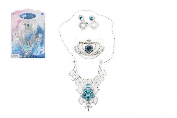 Sada krásy princezna korunka+náhrdelník+náušnice plast na kartě 18x25x3cm