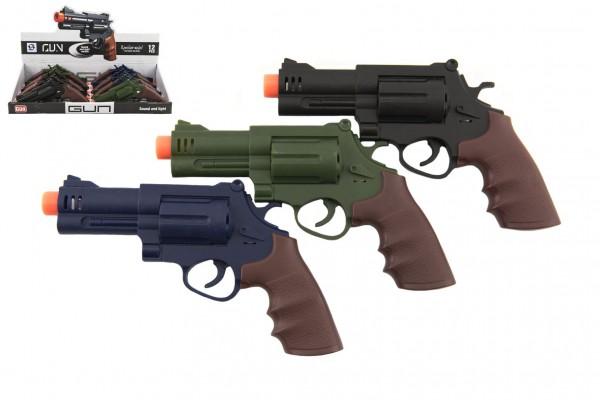 Pistole/revolver plast 17x11cm na baterie se zvukem se světlem 3 barvy 12ks v boxu