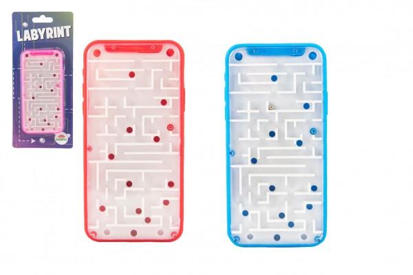 Labyrint s kuličkami hlavolam plast 14x7cm 3 barvy na kartě