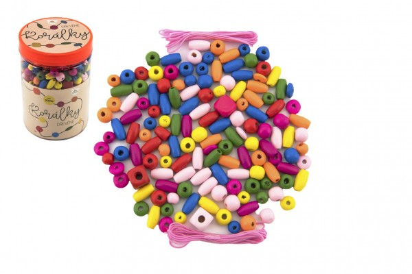 Korálky dřevěné barevné s gumičkami cca 90 ks v plastové dóze 9x13,5cm