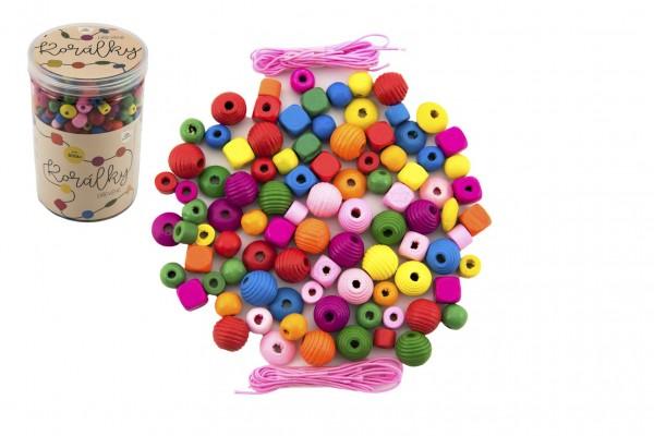Korálky dřevěné barevné s gumičkami cca 800 ks ve velké plastové dóze 10x15cm