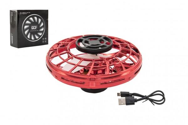 Ufo vracející se červené plast s USB kabelem v krabičce 12x12x5cm