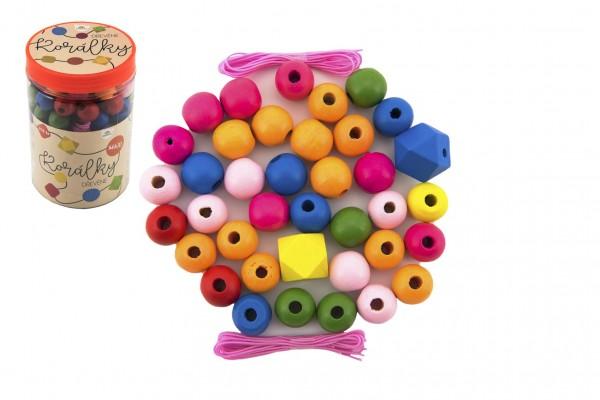 Korálky dřevěné barevné MAXI s gumičkami 106 ks v plastové dóze 9x13cm