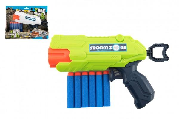 Pistole na pěnové náboje 22cm plast + 6 ks nábojů 2 barvy v krabici 26x21x5cm