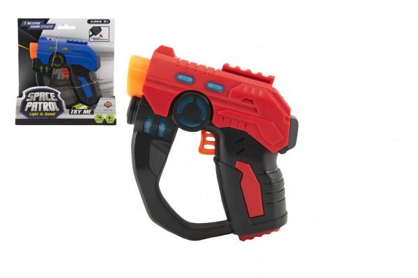 Pistole 12cm plast na baterie se světlem se zvukem 2 barvy na kartě