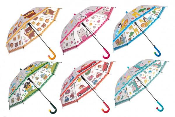 Deštník 66cm vystřelovací 6 barev v sáčku