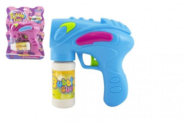 Pistole bublifuk s náplní plast 15cm na baterie asst 2 barvy na kartě