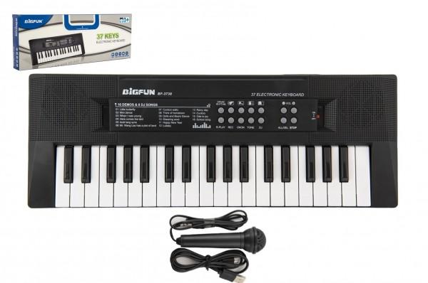 Piánko/Varhany/Klávesy 37 kláves plast napájení na USB + mikrofon 40cm v krabici 41x15x4cm