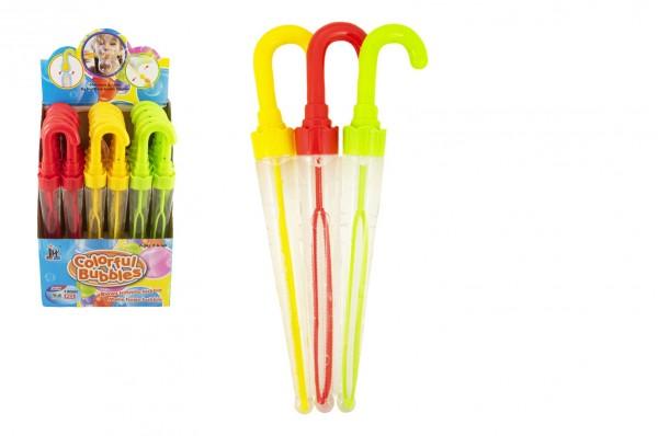 Bublifuk deštník plast 37cm 130ml 3 barvy 24 ks v boxu