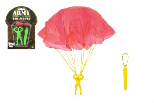 Parašutista figurka s padákem létající 9cm 2 barvy na kartě