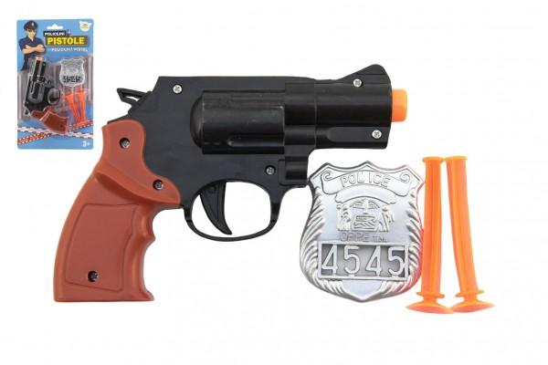 Teddies Pistole policejní 15cm plast s odznakem + přísavky 2ks na kartě