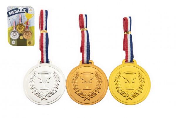 Medaile se šňůrkou 3ks plast průměr 6cm na kartě