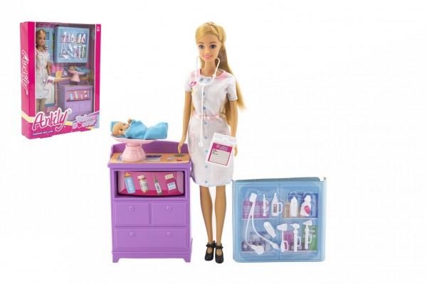 Panenka Anlily dětská doktorka kloubová 30cm plast s miminkem s doplňky v krabici 24x32x6cm