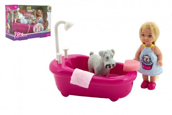 Panenka kloubová Kiki Anlily plast 12cm s mazlíčkem s vanou v koupelně v krabičce 22x16x9cm