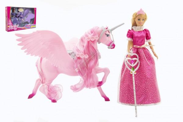 Panenka Anlily princezna kloubová 30cm plast s jednorožcem 40cm s hůlkou 2 barvy v krabici 48x33x9cm