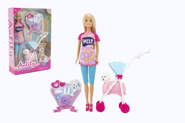 Panenka Anlily kloubová 30cm plast s mazlíčkem v kočárku s doplňky v krabici 22x32x6,5cm