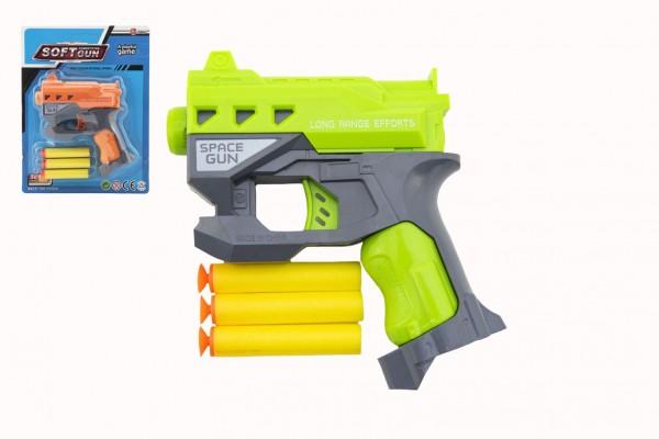 Pistole na pěnové náboje s přísavkami + náboje 3ks plast 12x14cm 2 barvy na kartě