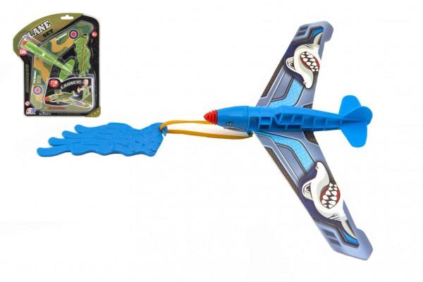 Vystřelovací letadlo plast 25x14cm 2 barvy na kartě 21x25x4cm