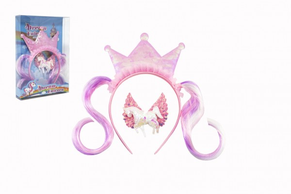 Sada krásy princezna čelenka s příčeskem + sponka do vlasů plast v krabičce 17,5x25x4cm