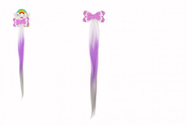 Spona do vlasů mašle třpytivá s duhovým ombré příčeskem plast/kov 8x38cm v sáčku