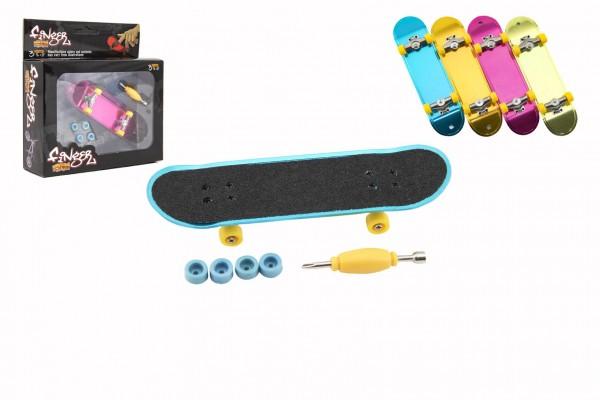 Skateboard prstový šroubovací plast 9cm s doplňky 4 barvy v krabičce 14x14x4cm