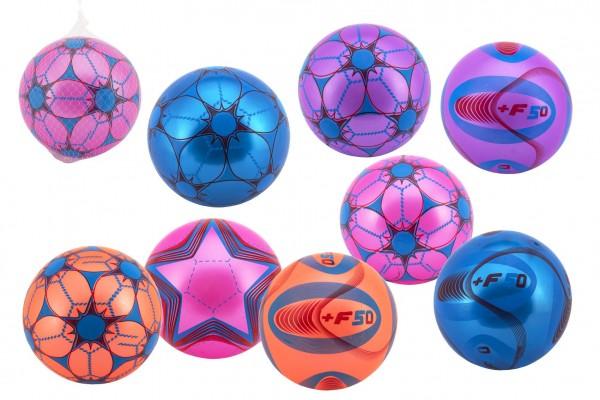 Míč barevný nafouknutý guma 23cm mix barev v síťce