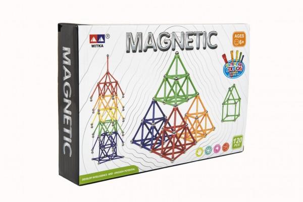Magnetická stavebnice 120 ks plast/kov v krabici 28x19x5cm