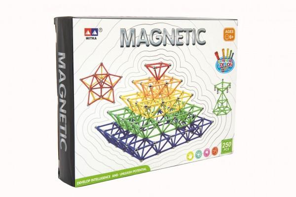 Magnetická stavebnice 250 ks plast/kov v krabici 31x23x5cm