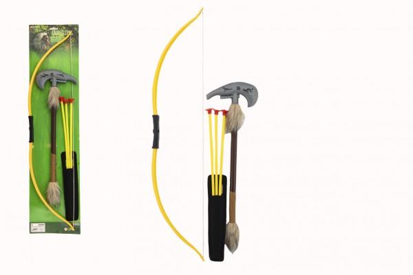 Luk indiánský 70cm + 3 šípy s přísavkami + tomahawk plast v sáčku