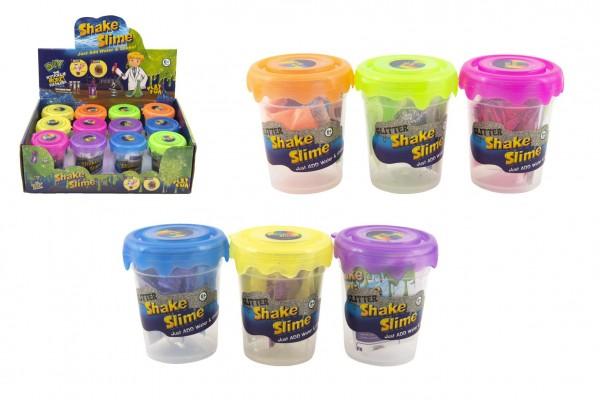 Výroba slizu/hmoty mini sada se třpytkami vědecká hra 6 barev v plastové dóze 5,5x7cm 12ks v boxu