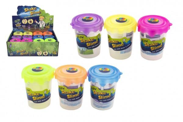 Výroba slizu/hmoty svítící ve tmě mini sada vědecká hra 6 barev v plastové dóze 5,5x7cm 12ks v boxu