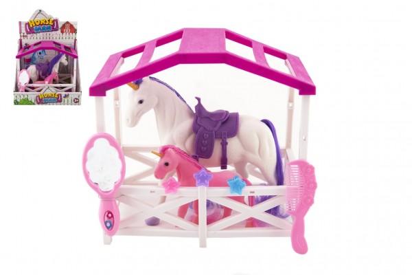 Jednorožec kůň se sedlem s hříbětem česací fliška plast s doplňky s ohradou v krabici 23x20x15cm