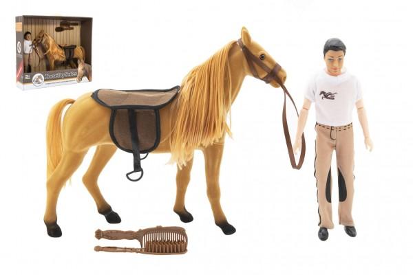 Kůň fliška česací + panáček kloubový 30cm plast s doplňky v krabici 45x39x12cm