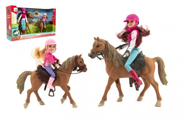 Kůň 2ks + panenka žokejka 2ks plast v krabici 44x26x12cm
