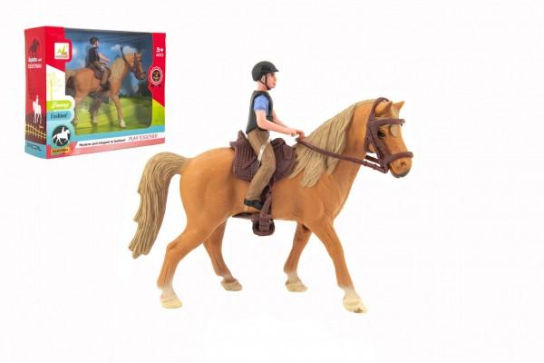 Kůň + žokej plast 15cm v krabici 20x16x5,5cm