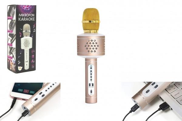 Mikrofon karaoke Bluetooth zlatý na baterie s USB kabelem v krabici 10x28x8,5cm