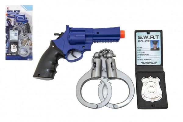 Policejní sada plast pistole klapací 18x13cm + pouta + odznak na kartě 18x38x4cm