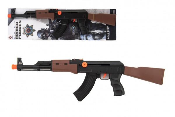 Pistole samopal policie plast 52cm na natažení na kartě 15x53x4cm