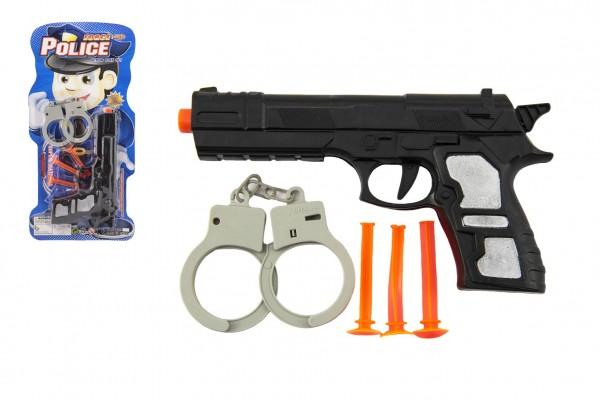 Pistole plast 21cm s přísavkami 3ks s pouty na kartě