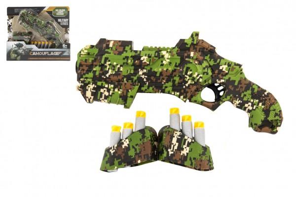 Pistole vojenská na pěnové náboje plast 23cm + pěnové náboje 6ks se zásobníkem v krabičce 28x24x5cm