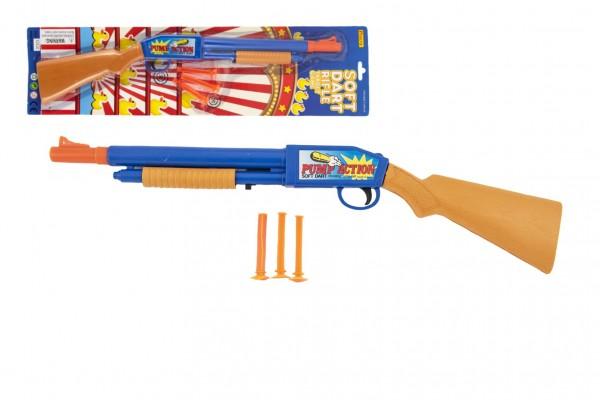 Pistole/Brokovnice plast 3 náboje na přísavky 48cm na kartě