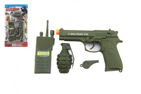 Vojenská/policejní sada plast pistole klapací 18cm vysílačka, píšťalka, granát na kartě 15x29x3cm