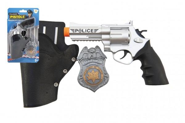 Teddies Policejní pistole klapací 20 cm v pouzdru  s odznakem plast na kartě