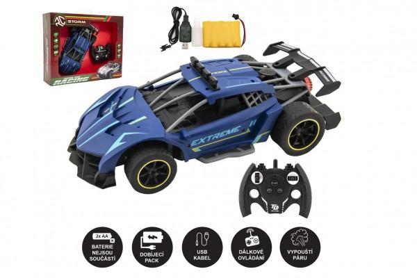 Auto RC závodní vypouštějící páru plast 30cm 2,4GHz na bat. + dobíjecí pack v krabici 43x35x12cm