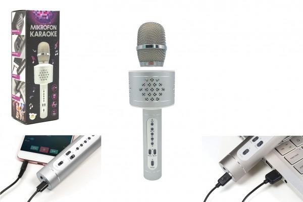 Mikrofon karaoke Bluetooth stříbrný na baterie s USB kabelem v krabici 10x28x8,5cm