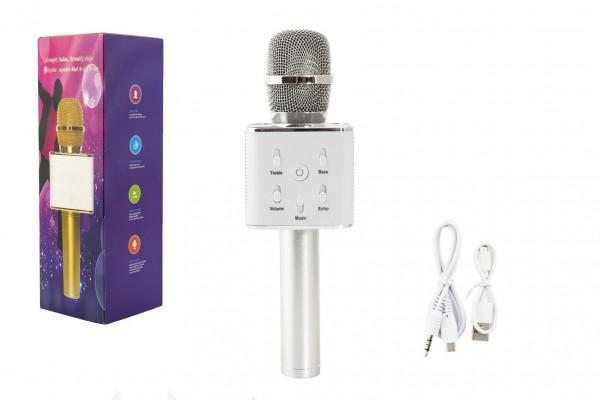 Mikrofon karaoke stříbrný plast 25cm na baterie s USB kabelem v krabici 8,5x26x8,5cm