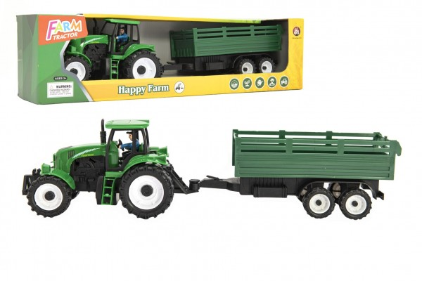 Traktor s vlekem plast 42cm na setrvačník v krabici 47x13x11cm