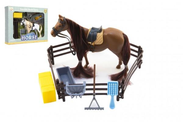 Kůň česací s doplňky a ohradou plast 2 barvy v krabici 28x22x5,5cm